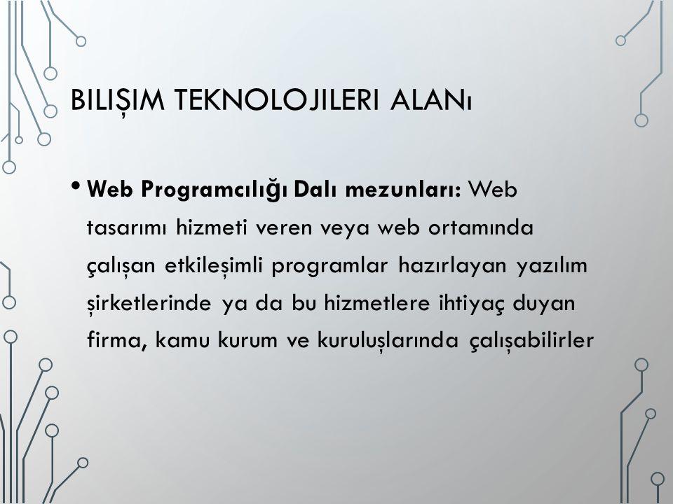 BILIŞIM TEKNOLOJILERI ALANı Web Programcılı ğ ı Dalı mezunları: Web tasarımı hizmeti veren veya web ortamında çalışan etkileşimli programlar hazırlayan yazılım şirketlerinde ya da bu hizmetlere ihtiyaç duyan firma, kamu kurum ve kuruluşlarında çalışabilirler