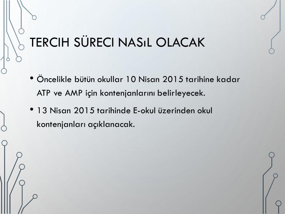 TERCIH SÜRECI NASıL OLACAK Öncelikle bütün okullar 10 Nisan 2015 tarihine kadar ATP ve AMP için kontenjanlarını belirleyecek. 13 Nisan 2015 tarihinde