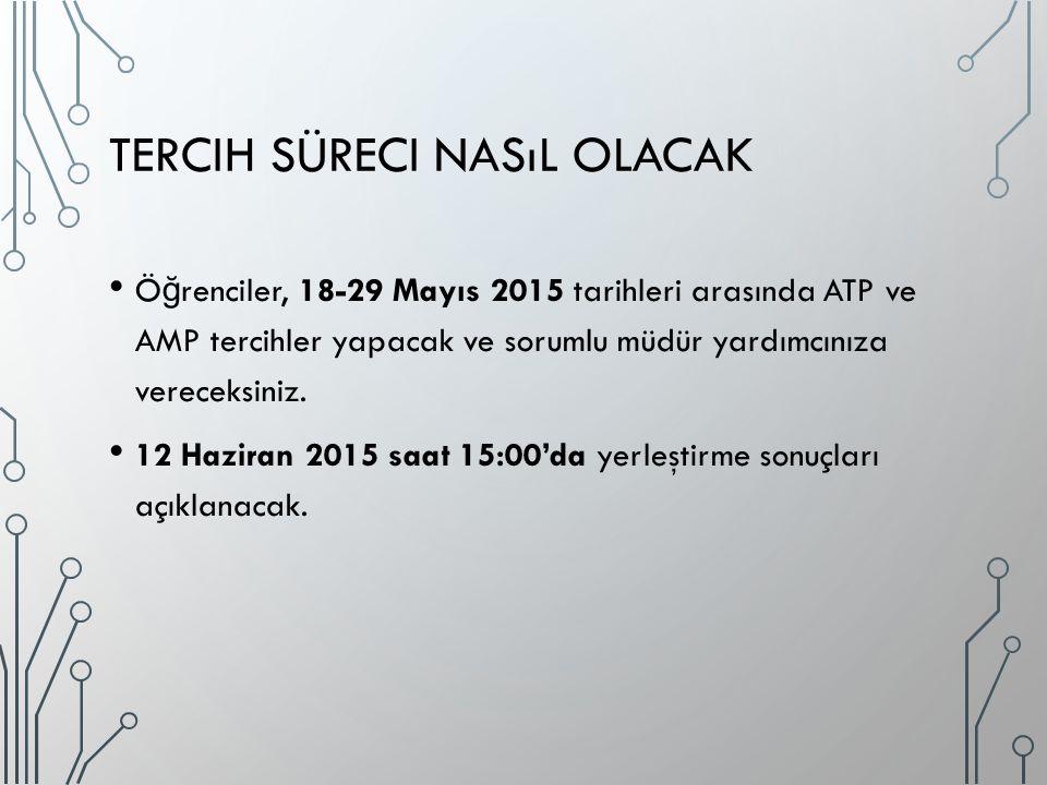 TERCIH SÜRECI NASıL OLACAK Ö ğ renciler, 18-29 Mayıs 2015 tarihleri arasında ATP ve AMP tercihler yapacak ve sorumlu müdür yardımcınıza vereceksiniz.