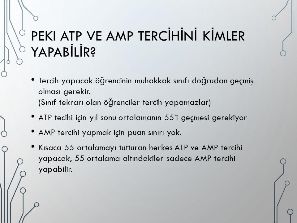 PEKI ATP VE AMP TERC İ H İ N İ K İ MLER YAPAB İ L İ R? Tercih yapacak ö ğ rencinin muhakkak sınıfı do ğ rudan geçmiş olması gerekir. (Sınıf tekrarı ol