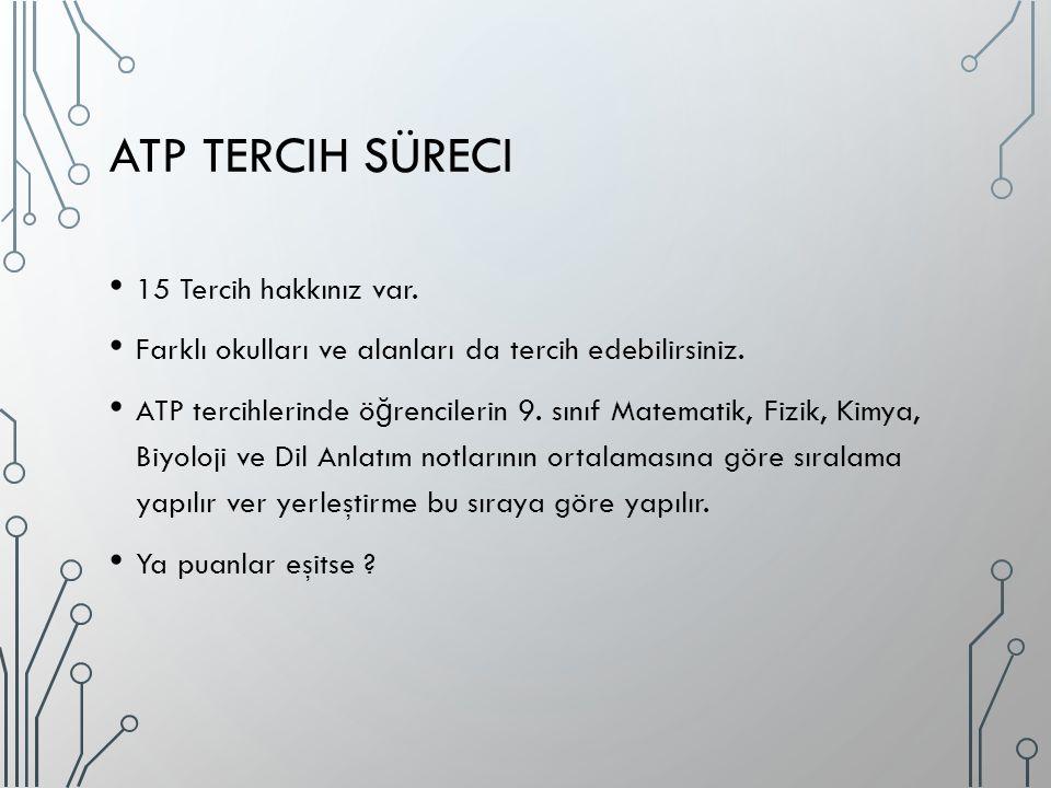 ATP TERCIH SÜRECI 15 Tercih hakkınız var. Farklı okulları ve alanları da tercih edebilirsiniz. ATP tercihlerinde ö ğ rencilerin 9. sınıf Matematik, Fi
