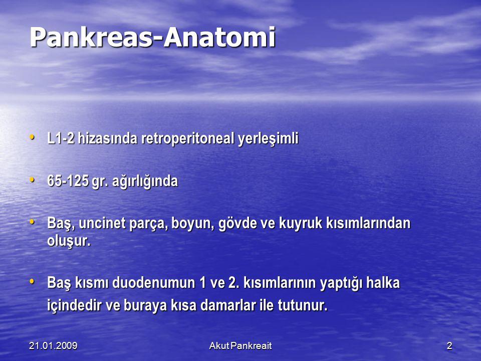 21.01.2009Akut Pankreait2 Pankreas-Anatomi L1-2 hizasında retroperitoneal yerleşimli L1-2 hizasında retroperitoneal yerleşimli 65-125 gr. ağırlığında