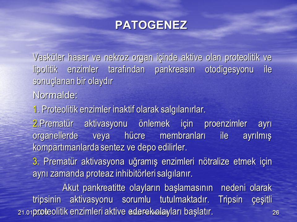 Akut Pankreait2621.01.2009 PATOGENEZ Vasküler hasar ve nekroz organ içinde aktive olan proteolitik ve lipolitik enzimler tarafından pankreasın otodige
