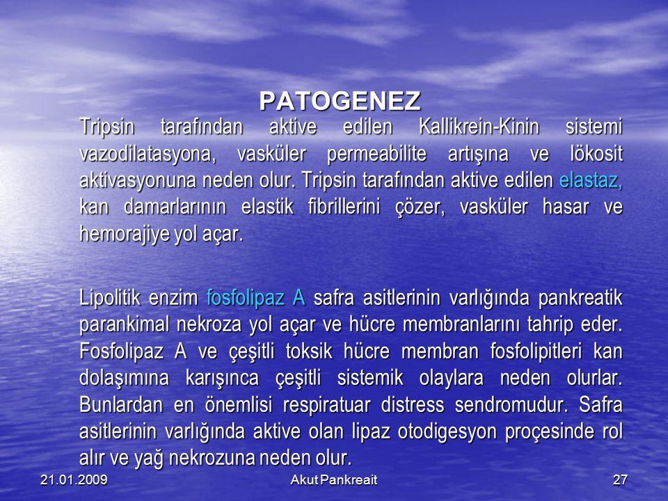 Akut Pankreait2721.01.2009 PATOGENEZ Tripsin tarafından aktive edilen Kallikrein-Kinin sistemi vazodilatasyona, vasküler permeabilite artışına ve löko
