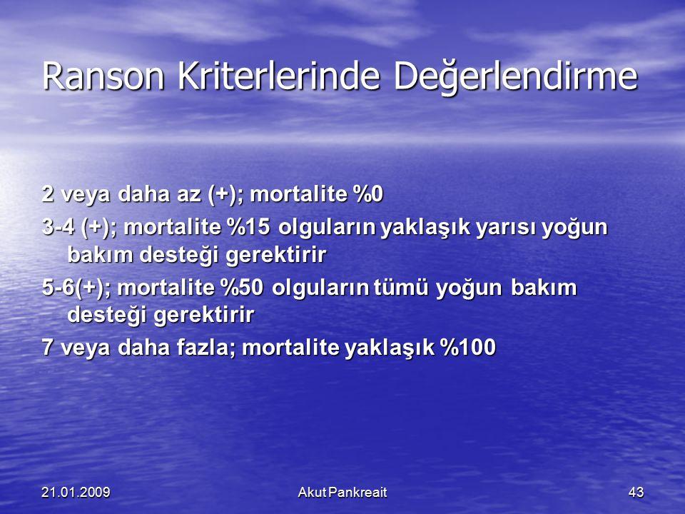 21.01.2009Akut Pankreait43 Ranson Kriterlerinde Değerlendirme 2 veya daha az (+); mortalite %0 3-4 (+); mortalite %15 olguların yaklaşık yarısı yoğun