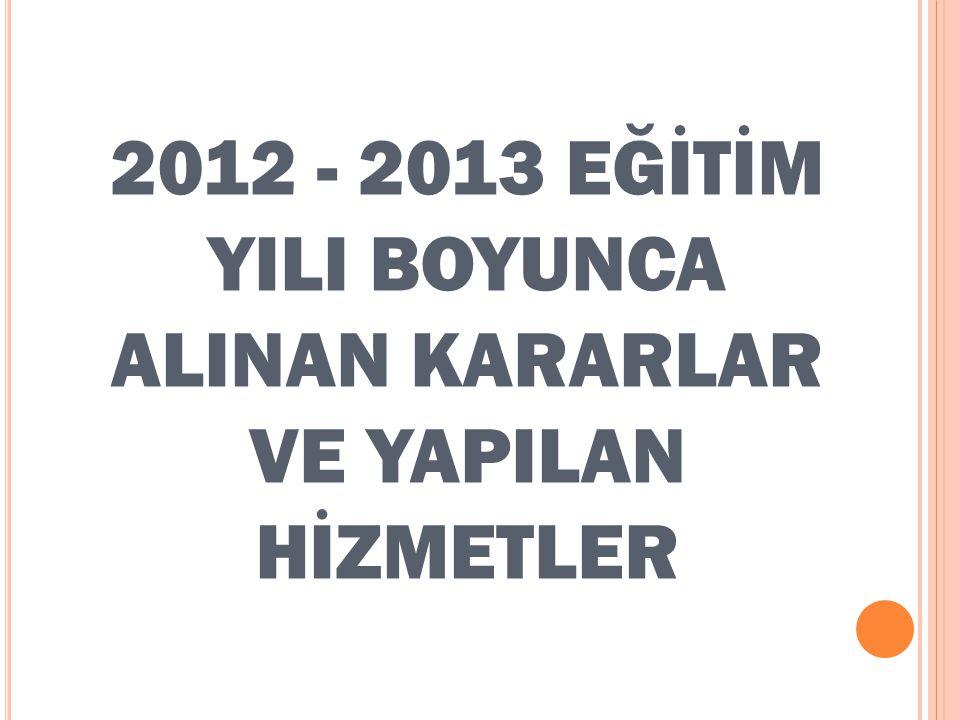2012 - 2013 EĞİTİM YILI BOYUNCA ALINAN KARARLAR VE YAPILAN HİZMETLER