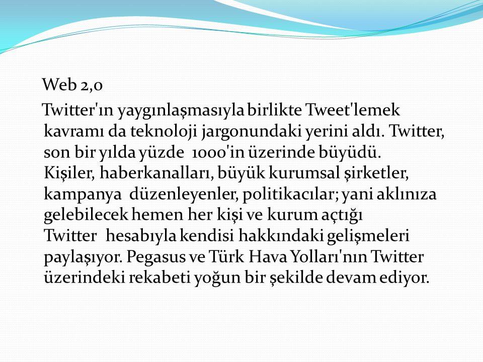 Web 2,0 Twitter'ın yaygınlaşmasıyla birlikte Tweet'lemek kavramı da teknoloji jargonundaki yerini aldı. Twitter, son bir yılda yüzde 1000'in üzerinde