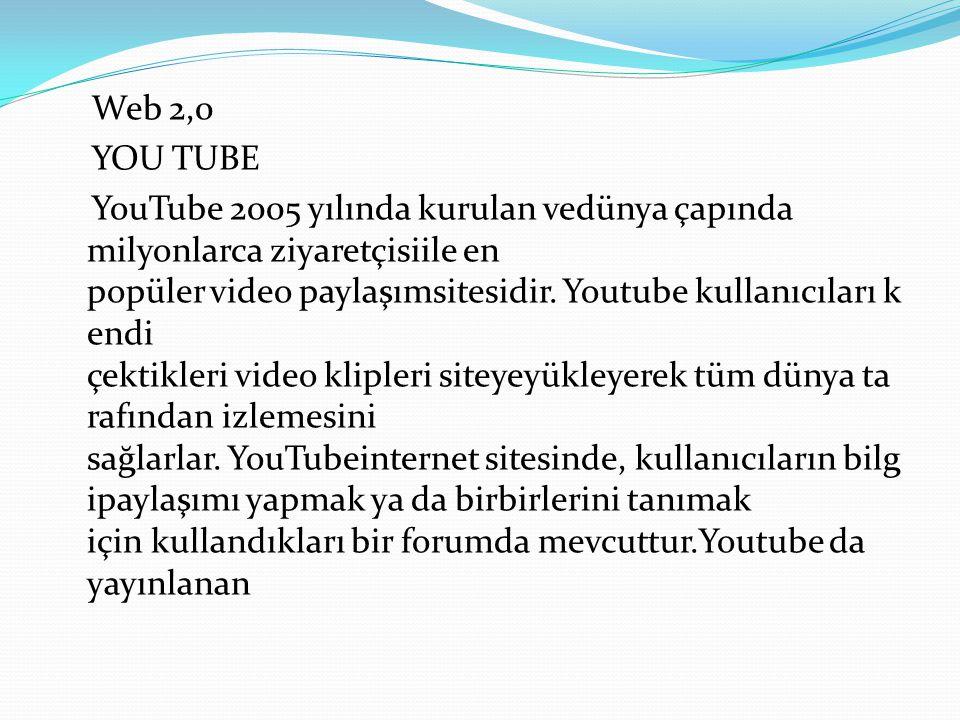 Web 2,0 YOU TUBE YouTube 2005 yılında kurulan vedünya çapında milyonlarca ziyaretçisiile en popüler video paylaşımsitesidir. Youtube kullanıcıları k e