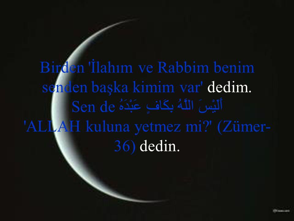 Birden 'İlahım ve Rabbim benim senden başka kimim var' dedim. Sen de أَلَيْسَ اللَّهُ بِكَافٍ عَبْدَهُ 'ALLAH kuluna yetmez mi?' (Zümer- 36) dedin.