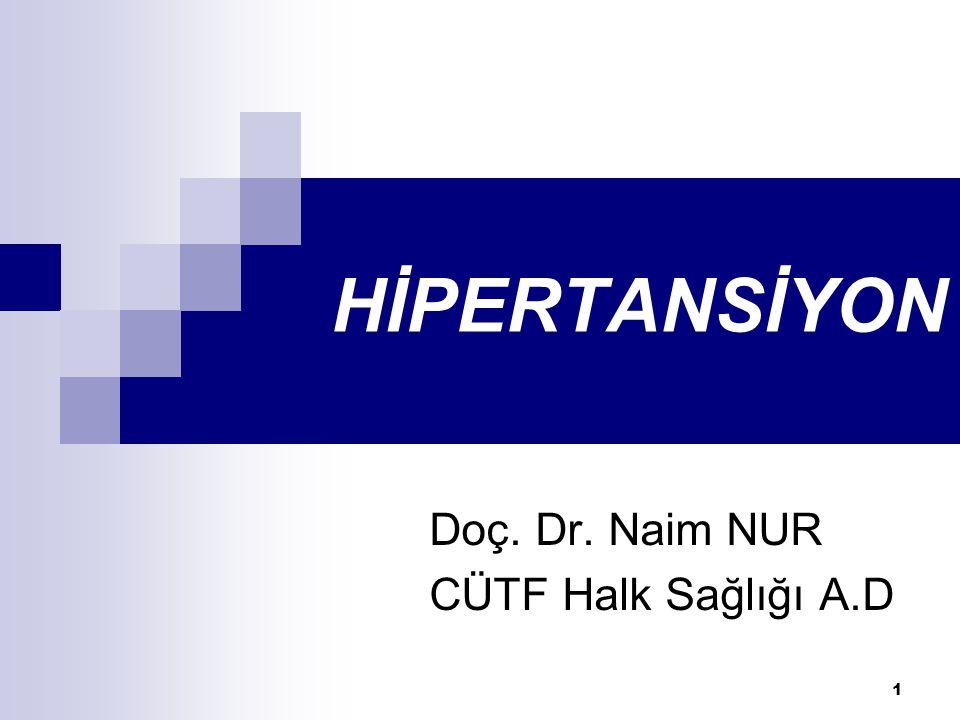 1 HİPERTANSİYON Doç. Dr. Naim NUR CÜTF Halk Sağlığı A.D