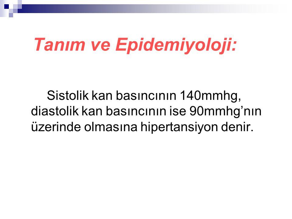 Tanım ve Epidemiyoloji: Sistolik kan basıncının 140mmhg, diastolik kan basıncının ise 90mmhg'nın üzerinde olmasına hipertansiyon denir.
