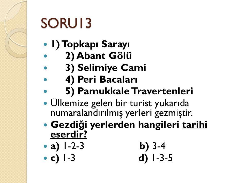 SORU13 1) Topkapı Sarayı 2) Abant Gölü 3) Selimiye Cami 4) Peri Bacaları 5) Pamukkale Travertenleri Ülkemize gelen bir turist yukarıda numaralandırılm