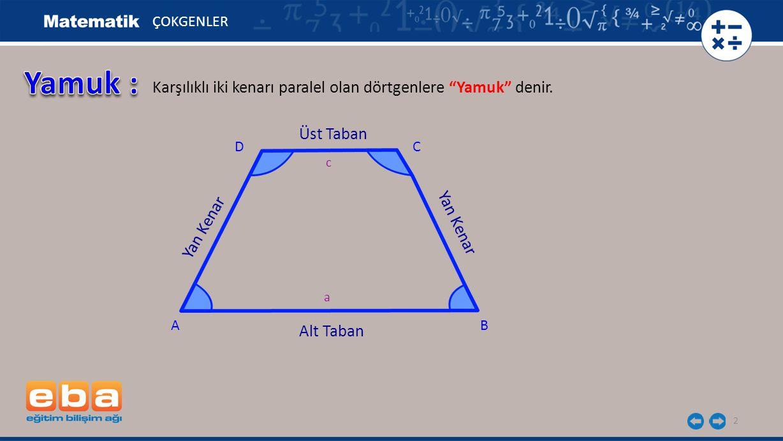 3 ÇOKGENLER m(A) + m(D) = 180 0 C AB D Alt Taban Üst Taban Yan Kenar 180 - x 180 -y x y c a m(B) + m(C) = 180 0