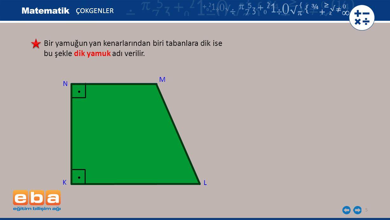 6 Şekildeki ABCD yamuğunda m(A) = 3a+5 ve m(D) = 5a+15 olduğuna göre A açısının kaç derece olduğunu belirleyelim.
