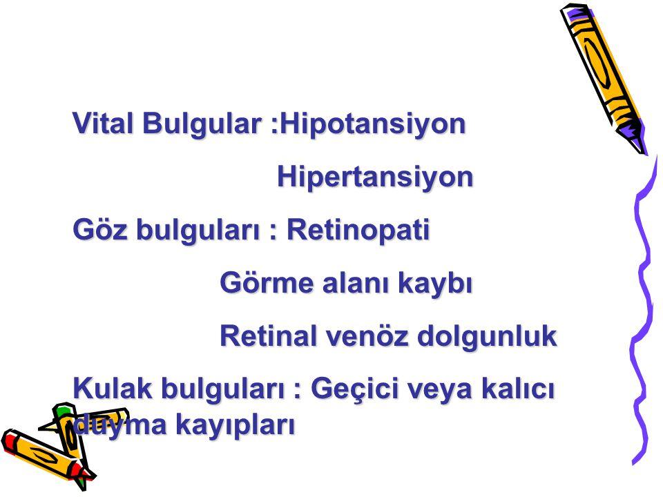 Vital Bulgular :Hipotansiyon Hipertansiyon Hipertansiyon Göz bulguları : Retinopati Görme alanı kaybı Görme alanı kaybı Retinal venöz dolgunluk Retina