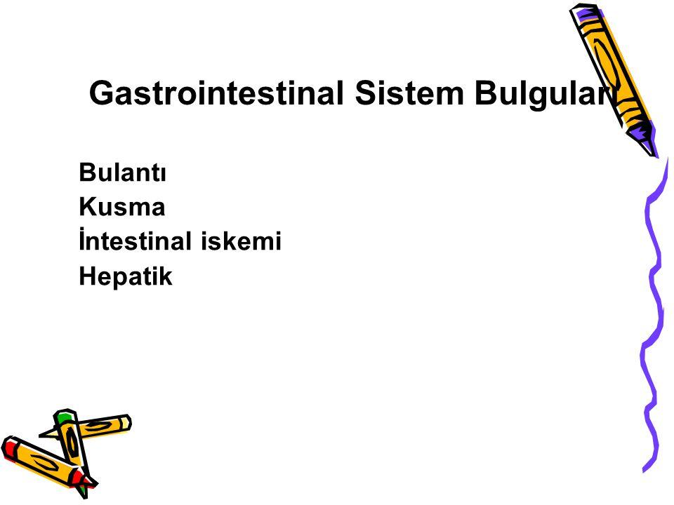 Gastrointestinal Sistem Bulguları Bulantı Kusma İntestinal iskemi Hepatik