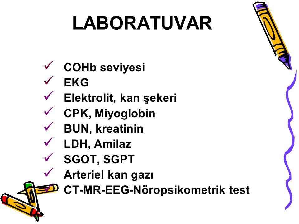 LABORATUVAR COHb seviyesi EKG Elektrolit, kan şekeri CPK, Miyoglobin BUN, kreatinin LDH, Amilaz SGOT, SGPT Arteriel kan gazı CT-MR-EEG-Nöropsikometrik