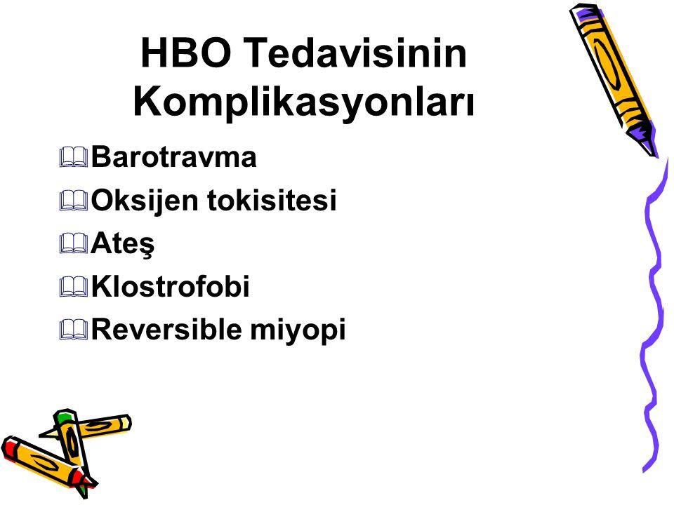 HBO Tedavisinin Komplikasyonları  Barotravma  Oksijen tokisitesi  Ateş  Klostrofobi  Reversible miyopi