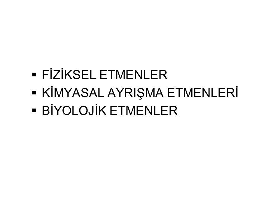  FİZİKSEL ETMENLER  KİMYASAL AYRIŞMA ETMENLERİ  BİYOLOJİK ETMENLER