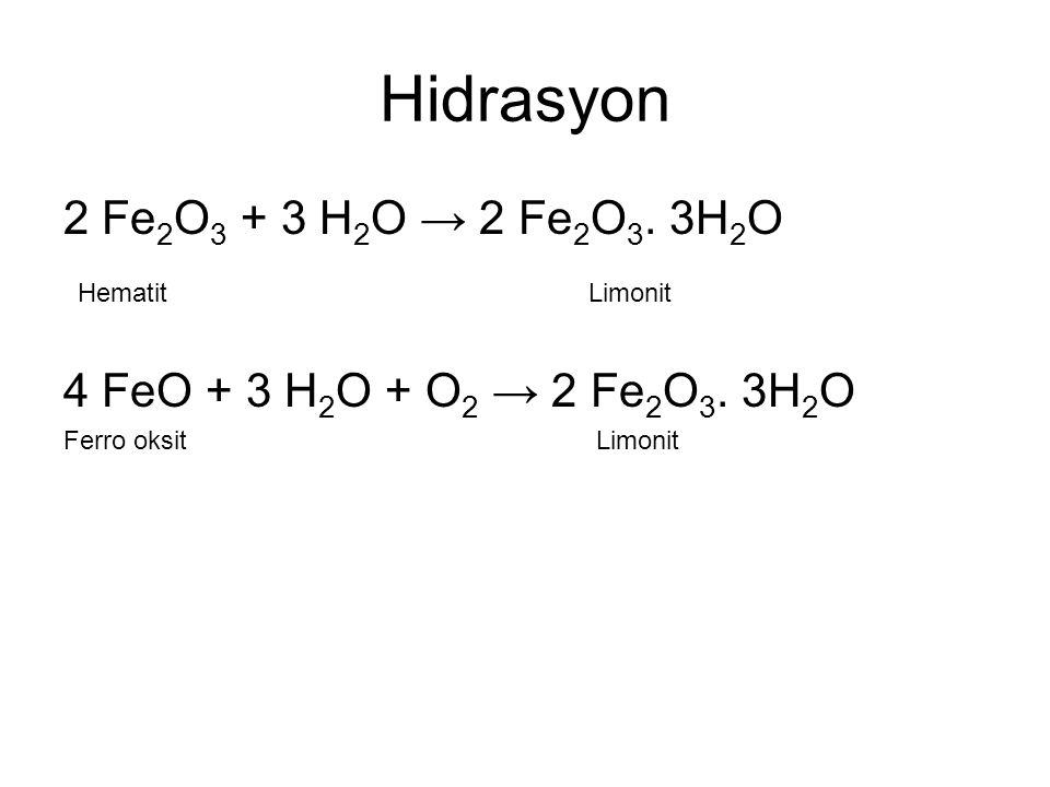Hidrasyon 2 Fe 2 O 3 + 3 H 2 O → 2 Fe 2 O 3. 3H 2 O Hematit Limonit 4 FeO + 3 H 2 O + O 2 → 2 Fe 2 O 3. 3H 2 O Ferro oksit Limonit