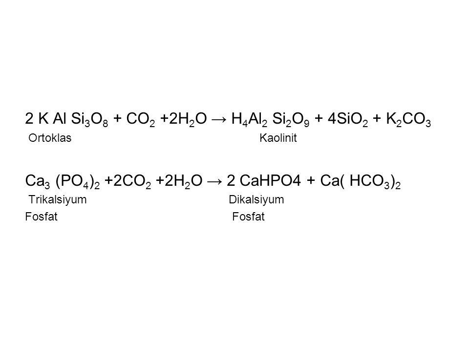 2 K Al Si 3 O 8 + CO 2 +2H 2 O → H 4 Al 2 Si 2 O 9 + 4SiO 2 + K 2 CO 3 OrtoklasKaolinit Ca 3 (PO 4 ) 2 +2CO 2 +2H 2 O → 2 CaHPO4 + Ca( HCO 3 ) 2 Trika