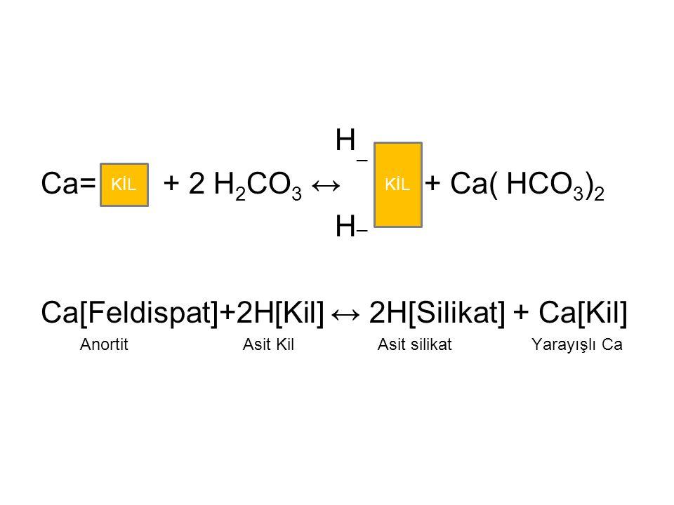 H _ Ca= + 2 H 2 CO 3 ↔ + Ca( HCO 3 ) 2 H _ Ca[Feldispat]+2H[Kil] ↔ 2H[Silikat] + Ca[Kil] AnortitAsit KilAsit silikat Yarayışlı Ca KİL