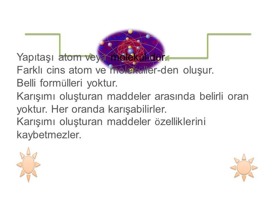 Yapıtaşı atom veya molek ü l-d ü r. Farklı cins atom ve molek ü ller-den oluşur.