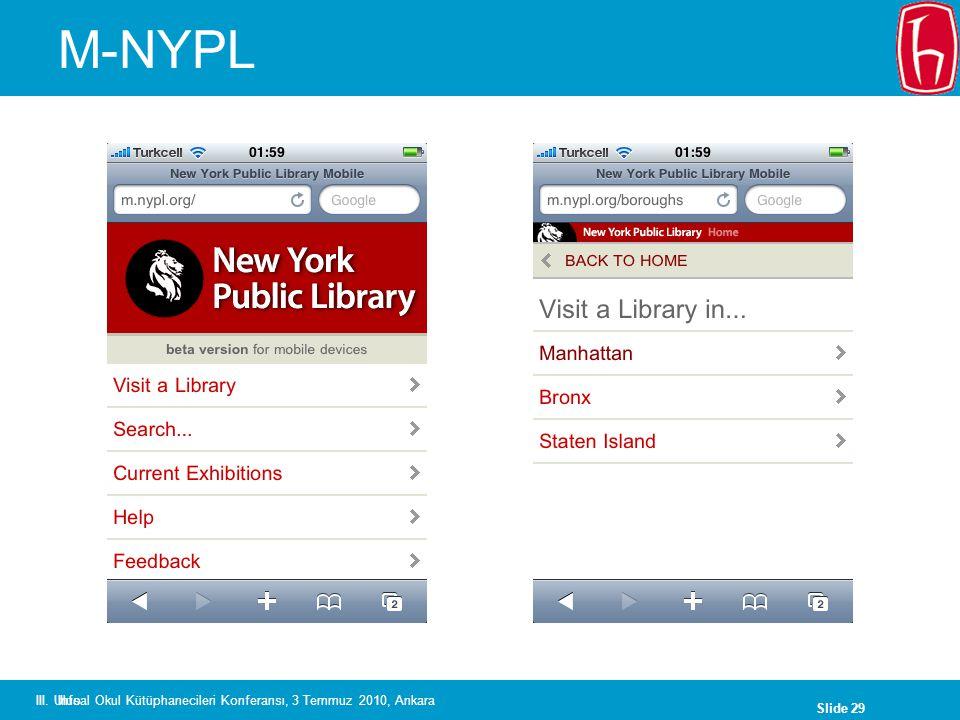 Slide 29 III. Ulusal Okul Kütüphanecileri Konferansı, 3 Temmuz 2010, Ankara M-NYPL Info