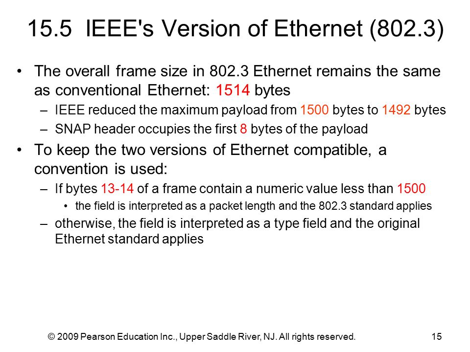 © 2009 Pearson Education Inc., Upper Saddle River, NJ. All rights reserved.15 15.5 IEEE's Version of Ethernet (802.3) The overall frame size in 802.3