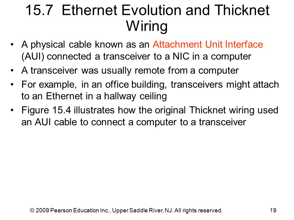 © 2009 Pearson Education Inc., Upper Saddle River, NJ. All rights reserved.19 15.7 Ethernet Evolution and Thicknet Wiring A physical cable known as an