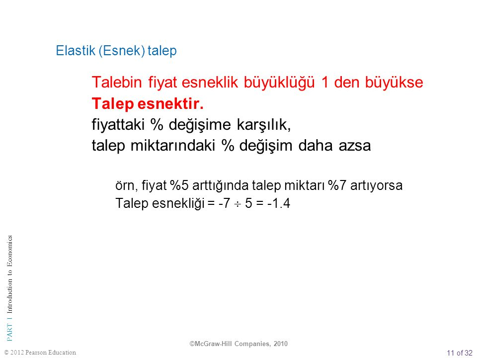 11 of 32 PART I Introduction to Economics © 2012 Pearson Education Elastik (Esnek) talep Talebin fiyat esneklik büyüklüğü 1 den büyükse Talep esnektir