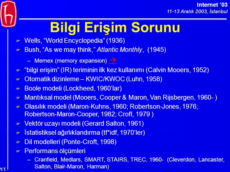 "Internet '03 11-13 Aralık 2003, İstanbul Y.T. Bilgi Erişim Sorunu F Wells, ""World Encyclopedia"" (1936) F Bush, ""As we may think,"" Atlantic Monthly, (1"