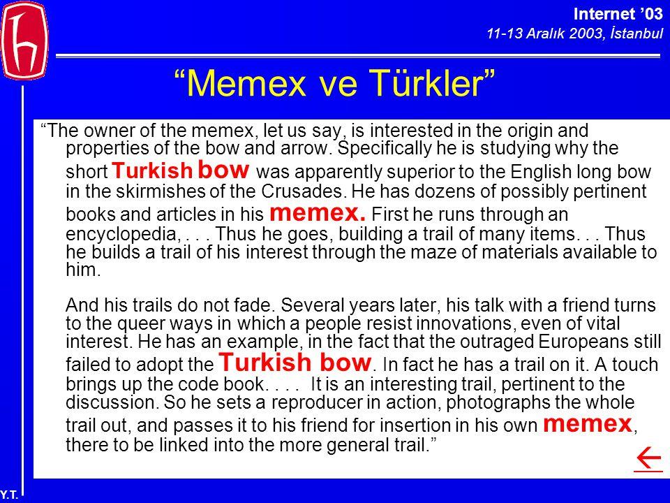 """Internet '03 11-13 Aralık 2003, İstanbul Y.T. """"Memex ve Türkler"""" """"The owner of the memex, let us say, is interested in the origin and properties of th"""