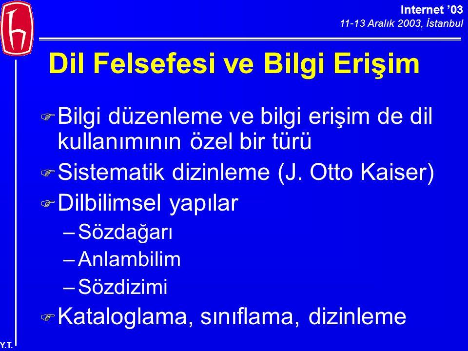 Internet '03 11-13 Aralık 2003, İstanbul Y.T. Dil Felsefesi ve Bilgi Erişim F Bilgi düzenleme ve bilgi erişim de dil kullanımının özel bir türü F Sist