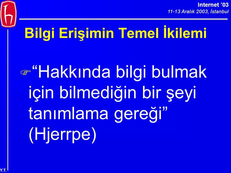 """Internet '03 11-13 Aralık 2003, İstanbul Y.T. Bilgi Erişimin Temel İkilemi F """"Hakkında bilgi bulmak için bilmediğin bir şeyi tanımlama gereği"""" (Hjerrp"""