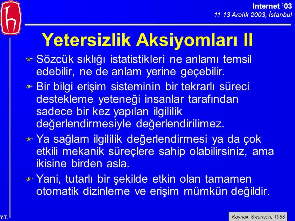 Internet '03 11-13 Aralık 2003, İstanbul Y.T. Yetersizlik Aksiyomları II F Sözcük sıklığı istatistikleri ne anlamı temsil edebilir, ne de anlam yerine