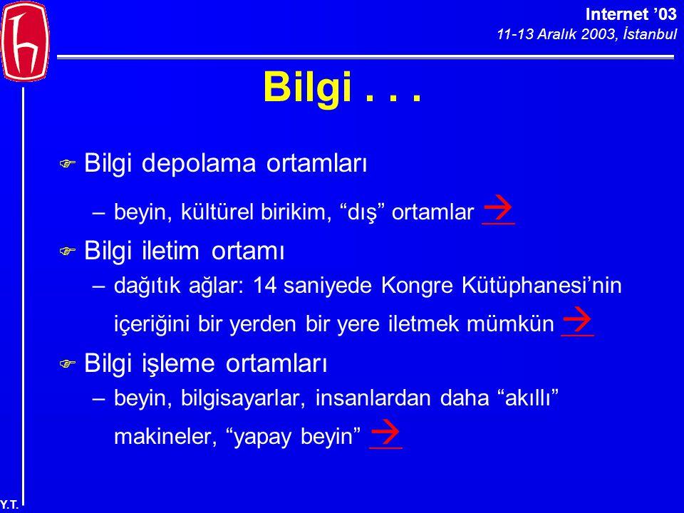 """Internet '03 11-13 Aralık 2003, İstanbul Y.T. Bilgi... F Bilgi depolama ortamları –beyin, kültürel birikim, """"dış"""" ortamlar   F Bilgi iletim ortamı –"""