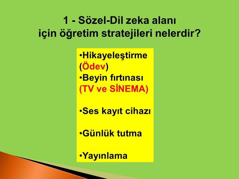 1 - Sözel-Dil zeka alanı için öğretim stratejileri nelerdir? Hikayeleştirme (Ödev) Beyin fırtınası (TV ve SİNEMA) Ses kayıt cihazı Günlük tutma Yayınl