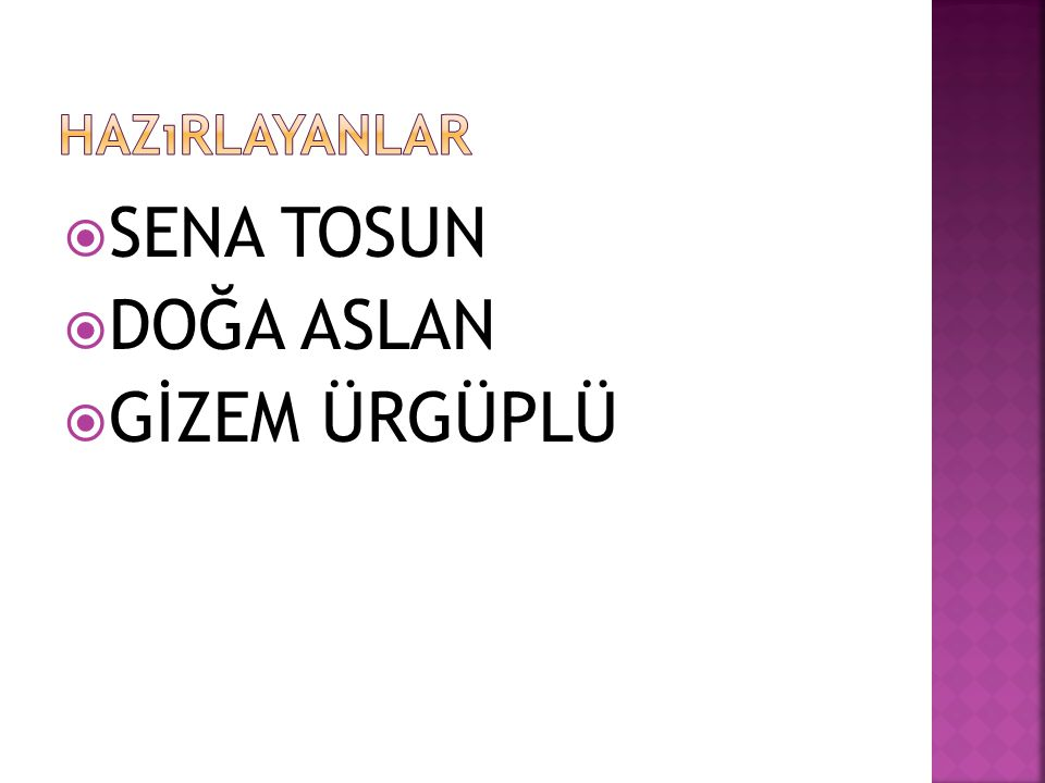  SENA TOSUN  DOĞA ASLAN  GİZEM ÜRGÜPLÜ