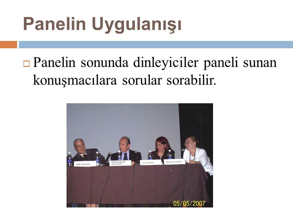 Panelin Uygulanışı  Panelin sonunda dinleyiciler paneli sunan konuşmacılara sorular sorabilir.