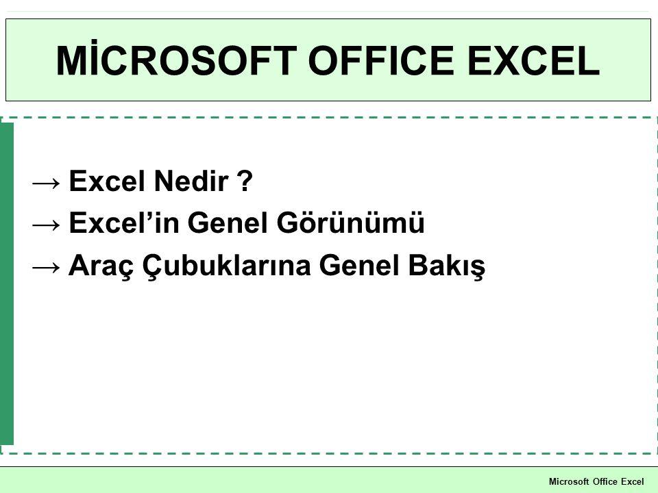MİCROSOFT OFFICE EXCEL → Excel Nedir ? → Excel'in Genel Görünümü → Araç Çubuklarına Genel Bakış Microsoft Office Excel