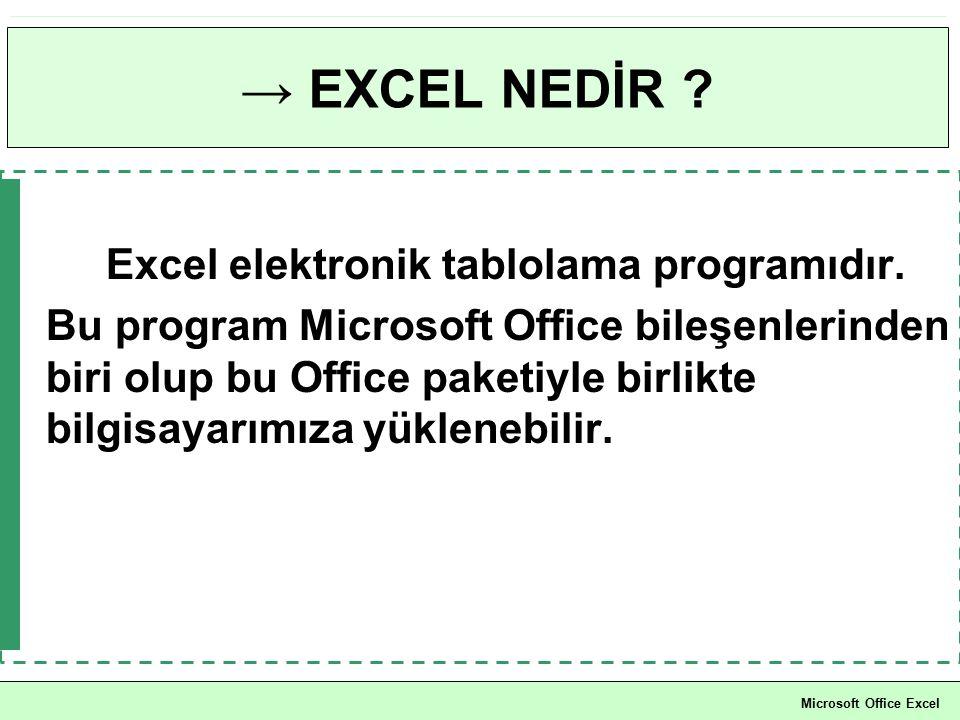 → EXCEL NEDİR ? Excel elektronik tablolama programıdır. Bu program Microsoft Office bileşenlerinden biri olup bu Office paketiyle birlikte bilgisayarı