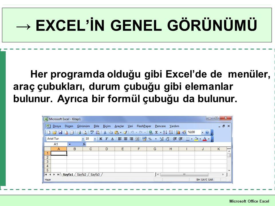 → EXCEL'İN GENEL GÖRÜNÜMÜ Her programda olduğu gibi Excel'de de menüler, araç çubukları, durum çubuğu gibi elemanlar bulunur. Ayrıca bir formül çubuğu