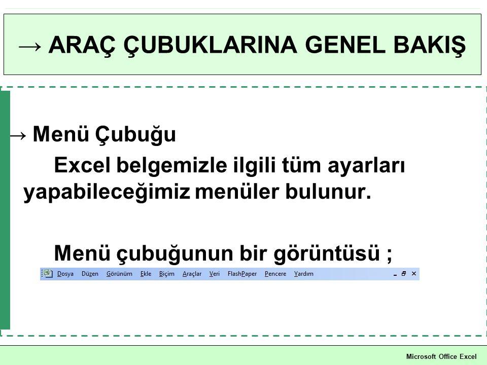→ ARAÇ ÇUBUKLARINA GENEL BAKIŞ → Menü Çubuğu Excel belgemizle ilgili tüm ayarları yapabileceğimiz menüler bulunur. Menü çubuğunun bir görüntüsü ; Micr