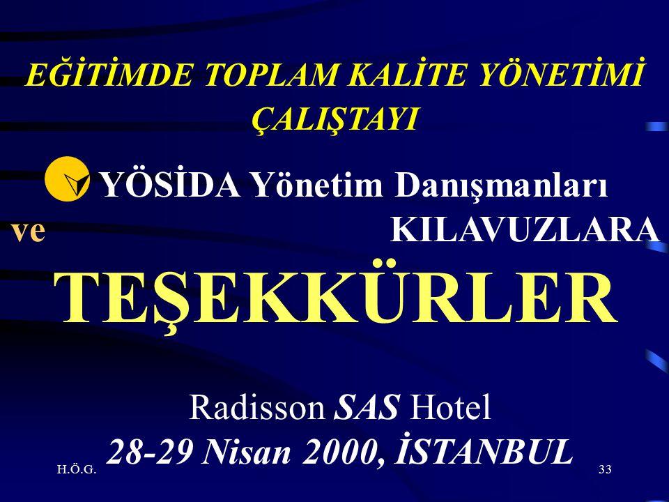H.Ö.G.33 EĞİTİMDE TOPLAM KALİTE YÖNETİMİ ÇALIŞTAYI  YÖSİDA Yönetim Danışmanları ve KILAVUZLARA TEŞEKKÜRLER Radisson SAS Hotel 28-29 Nisan 2000, İSTANBUL