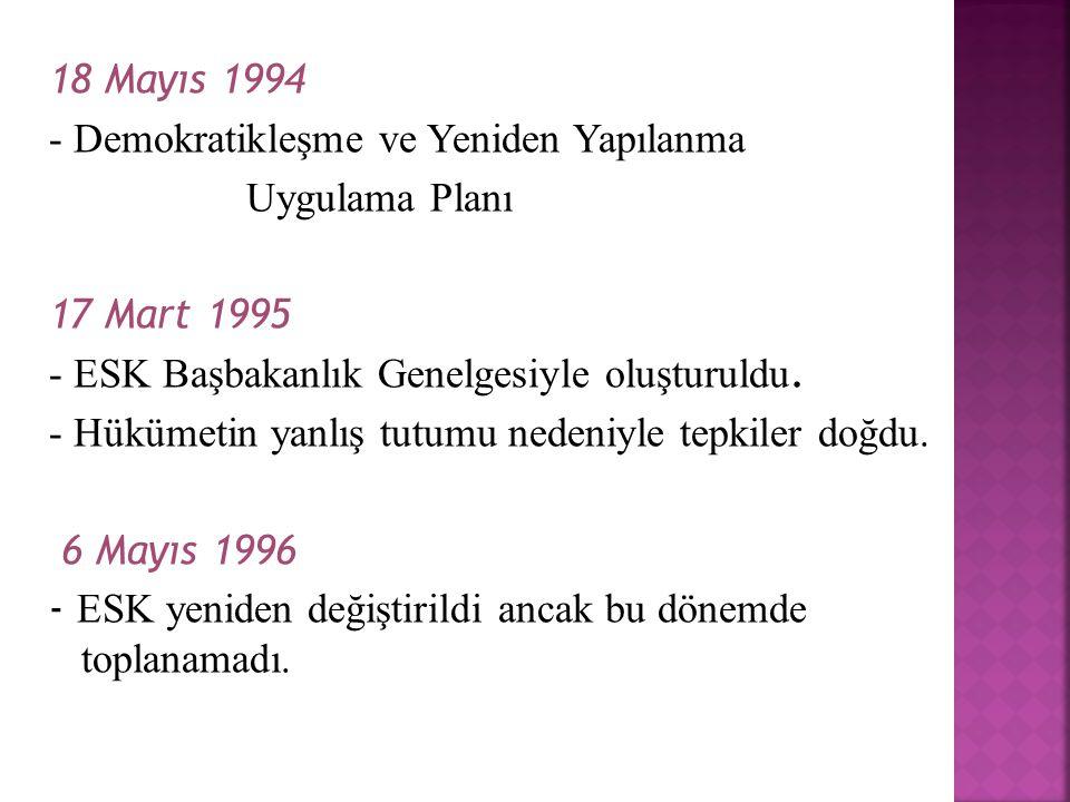 18 Mayıs 1994 - Demokratikleşme ve Yeniden Yapılanma Uygulama Planı 17 Mart 1995 - ESK Başbakanlık Genelgesiyle oluşturuldu.