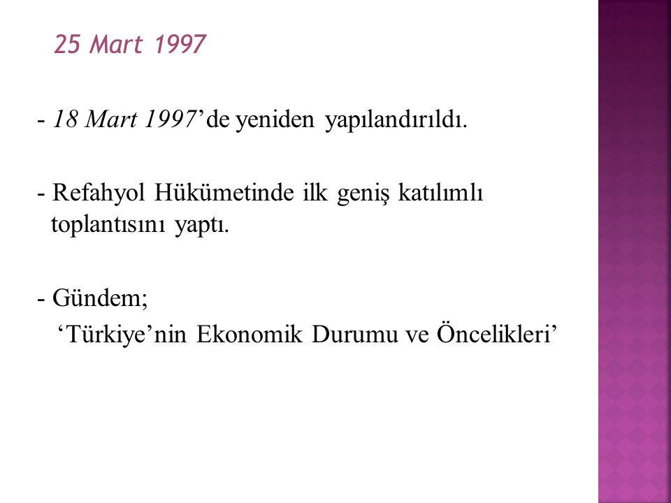 25 Mart 1997 - 18 Mart 1997'de yeniden yapılandırıldı. - Refahyol Hükümetinde ilk geniş katılımlı toplantısını yaptı. - Gündem; 'Türkiye'nin Ekonomik