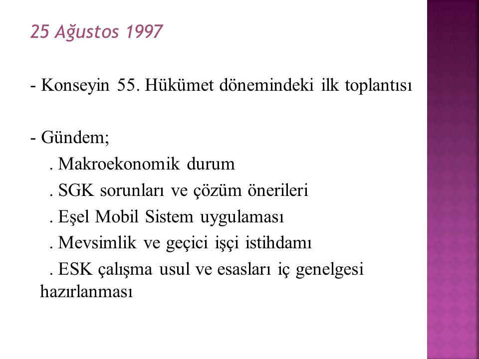 25 Ağustos 1997 - Konseyin 55. Hükümet dönemindeki ilk toplantısı - Gündem;. Makroekonomik durum. SGK sorunları ve çözüm önerileri. Eşel Mobil Sistem