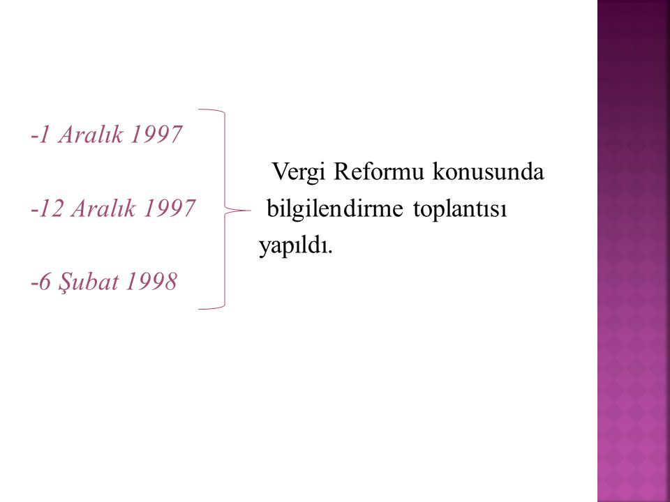 -1 Aralık 1997 Vergi Reformu konusunda -12 Aralık 1997 bilgilendirme toplantısı yapıldı. -6 Şubat 1998