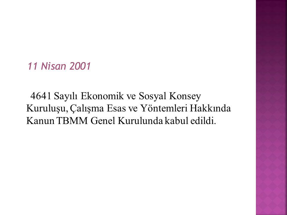 11 Nisan 2001 4641 Sayılı Ekonomik ve Sosyal Konsey Kuruluşu, Çalışma Esas ve Yöntemleri Hakkında Kanun TBMM Genel Kurulunda kabul edildi.